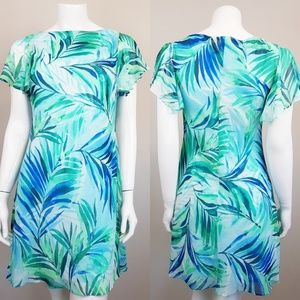 American Living Aqua Palm Leaf Dress